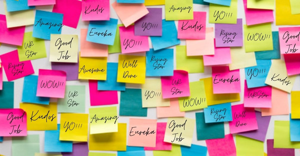 employee-appreciation-day-celebration-way to go, good job, well done, you're the man, thumbs up, you rock a set of isolated sticky notes with positive affirmation words